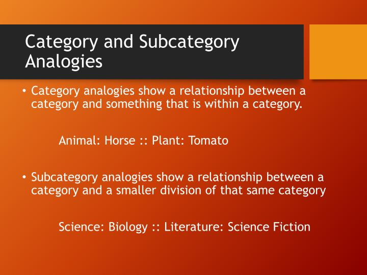 Category and Subcategory Analogies