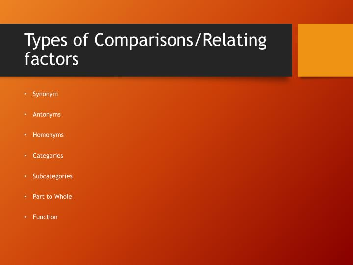 Types of comparisons relating factors