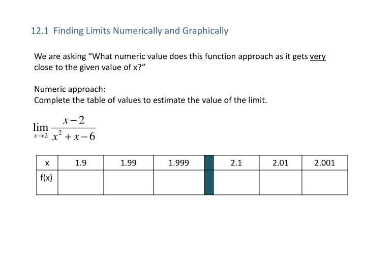 12 1 finding limits numerically and graphically