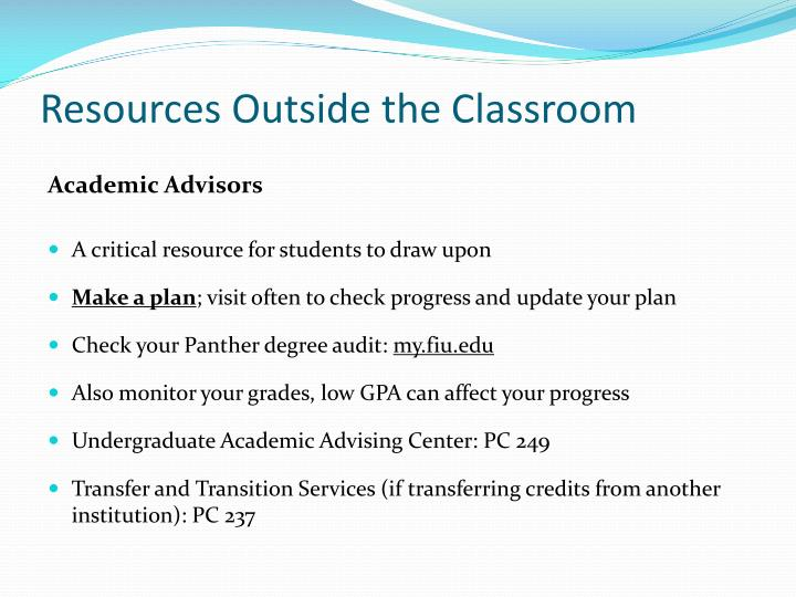 Resources Outside the Classroom