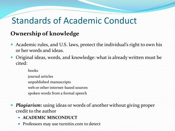 Standards of Academic Conduct