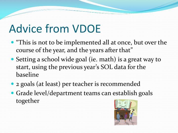 Advice from VDOE