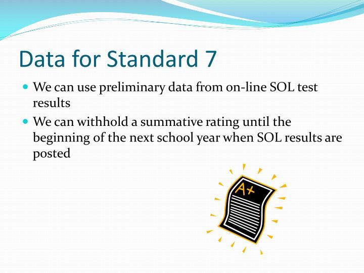 Data for Standard 7