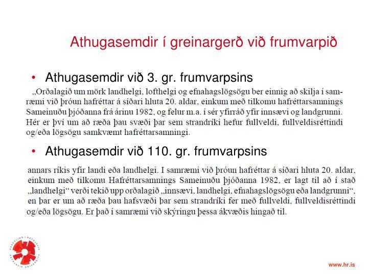 Athugasemdir í greinargerð við frumvarpið