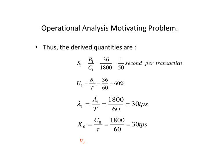 Operational Analysis Motivating Problem.
