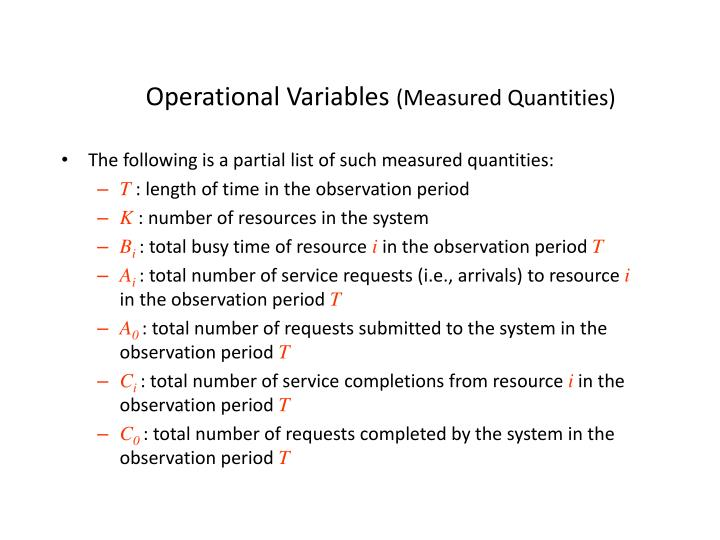 Operational Variables