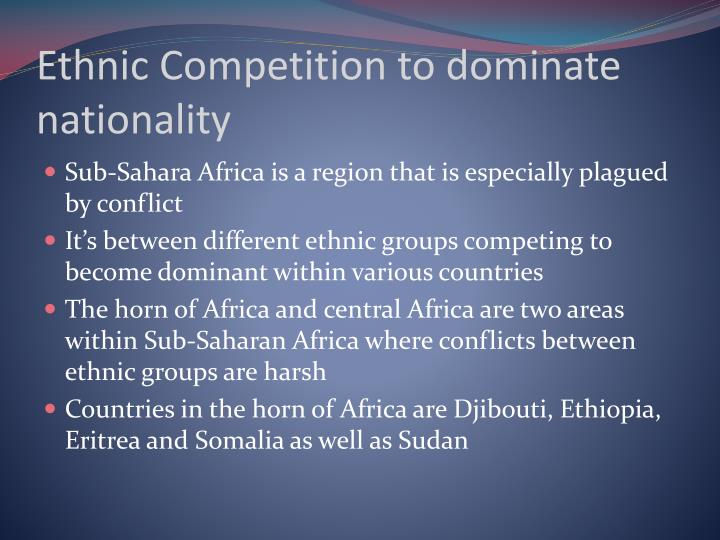 Ethnic Competition to dominate nationality