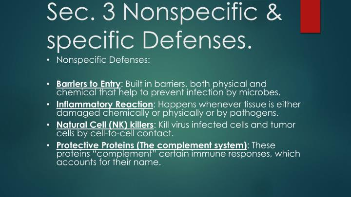 Sec. 3 Nonspecific & specific Defenses.