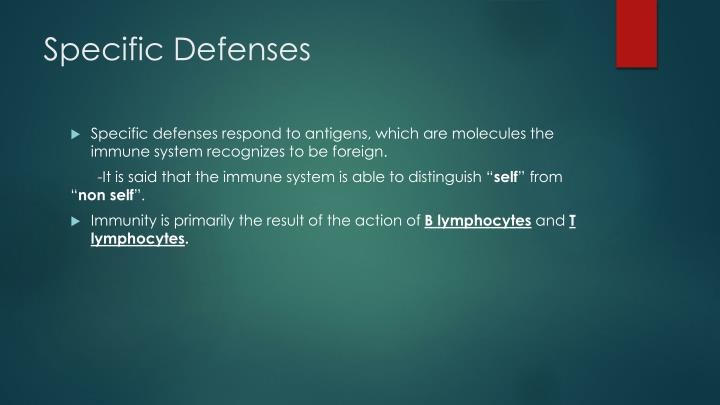 Specific Defenses