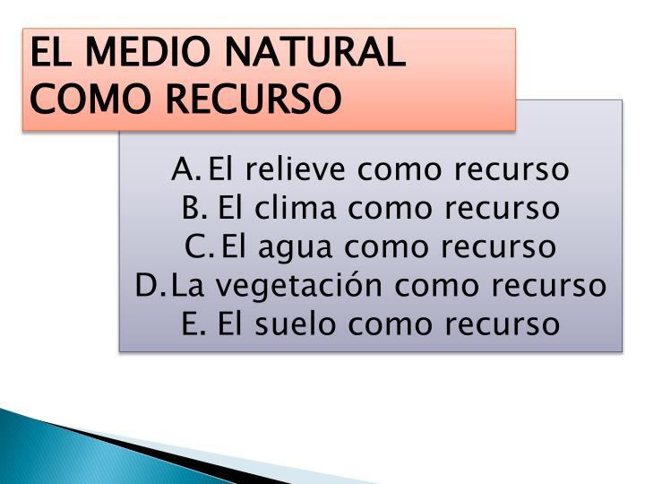 EL MEDIO NATURAL COMO RECURSO