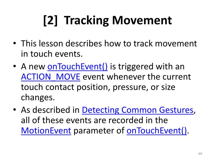 [2]  Tracking Movement