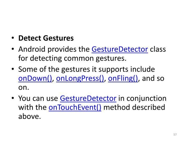 Detect Gestures