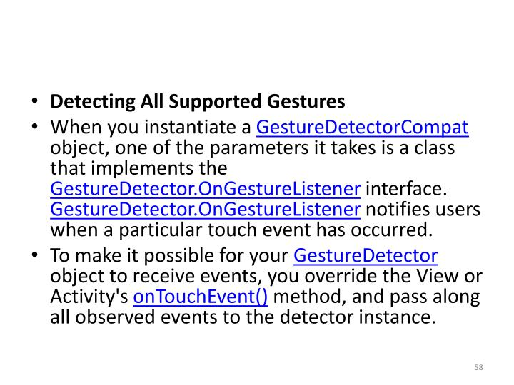 Detecting All Supported Gestures