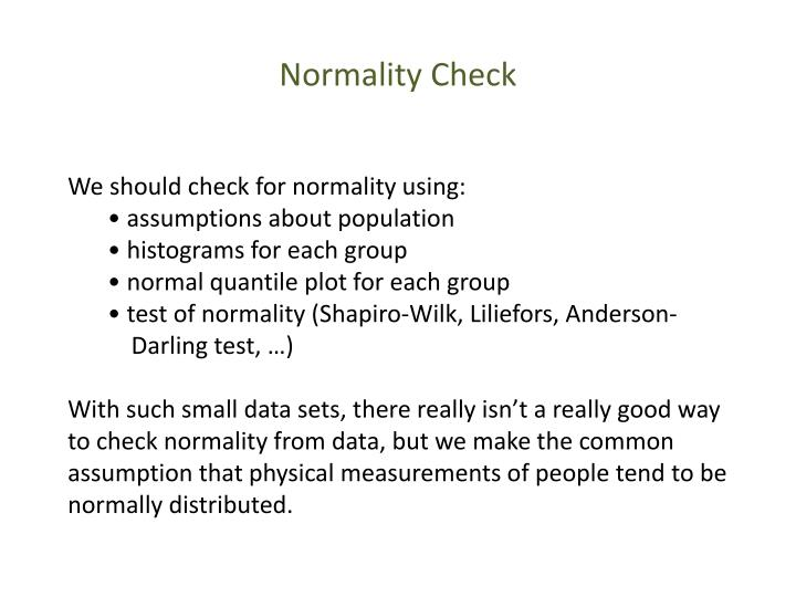 Normality Check