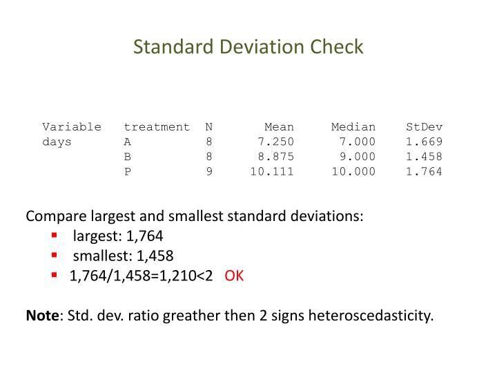 Standard Deviation Check