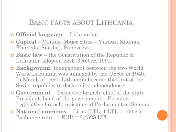 Basic facts about lithuania