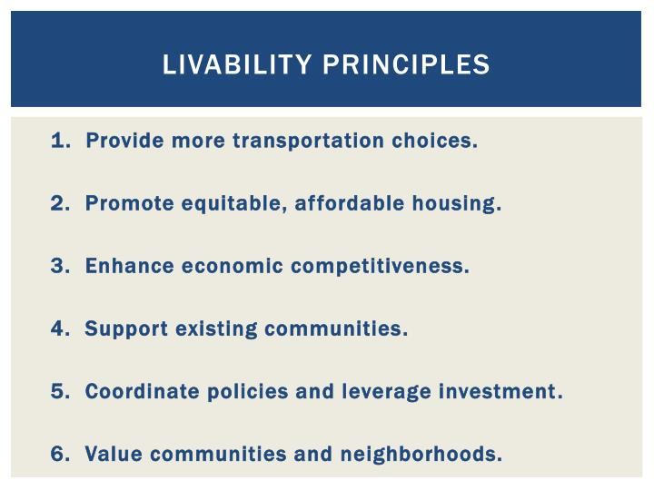 Livability principles