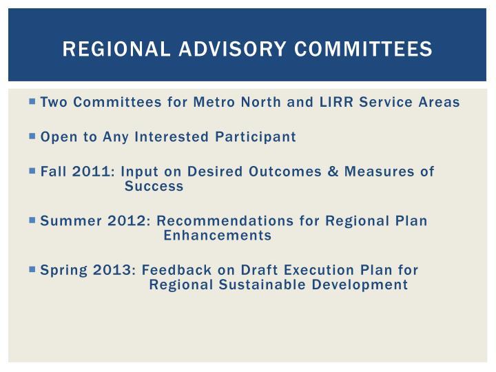 Regional advisory committees