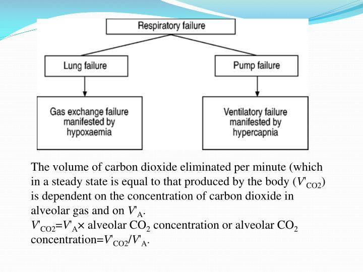 The volume of carbon dioxide eliminated per minute (which in a steady state is equal to that produced by the body (
