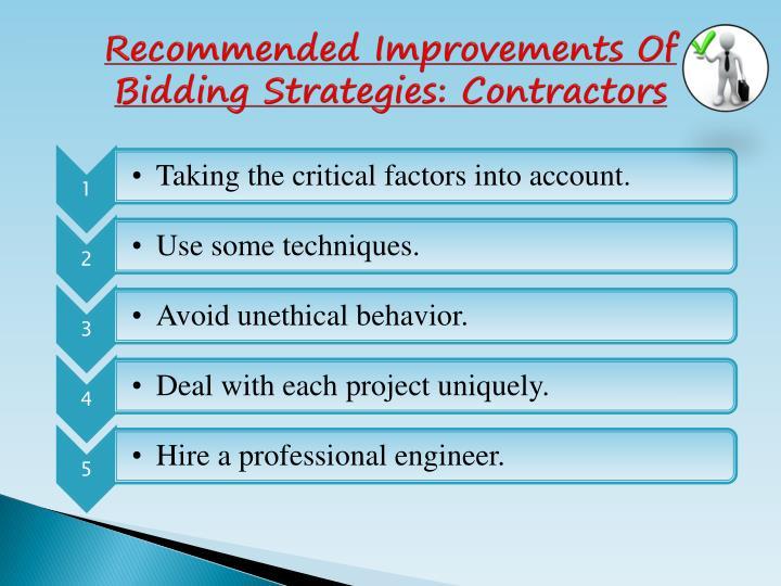 Recommended Improvements Of Bidding Strategies: Contractors