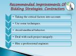 recommended improvements of bidding strategies contractors