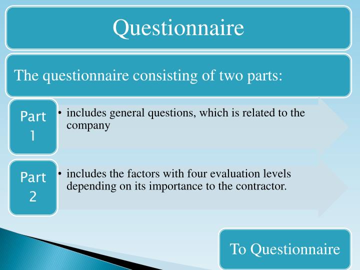 The questionnaire consisting of two parts:
