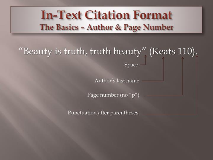 In-Text Citation Format