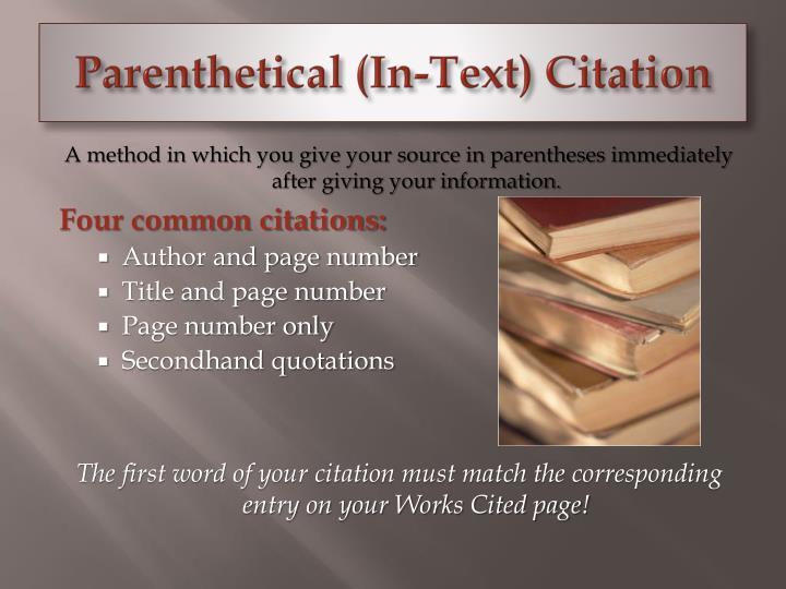 Parenthetical (In-Text) Citation