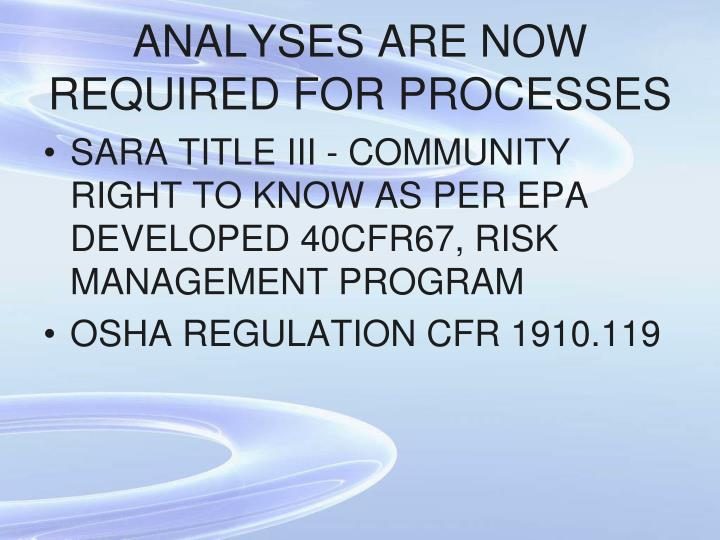 ANALYSES ARE NOW REQUIRED FOR PROCESSES