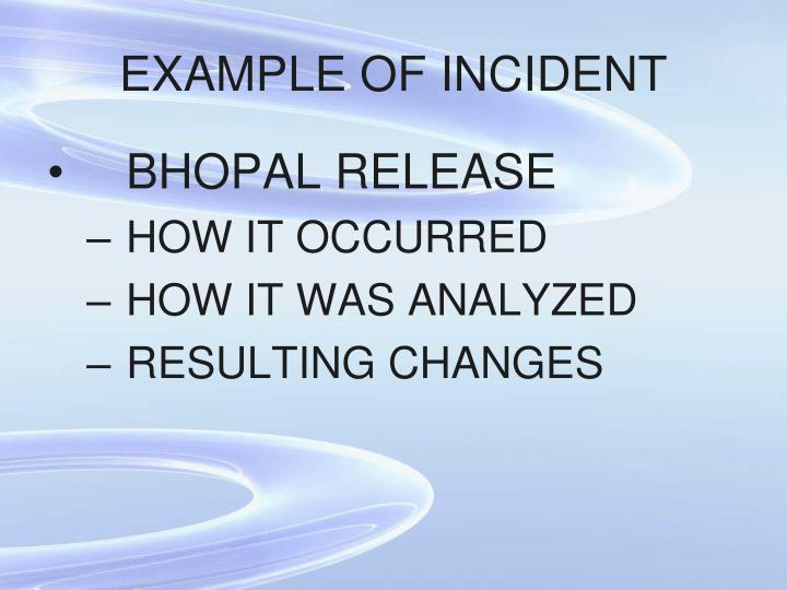 EXAMPLE OF INCIDENT