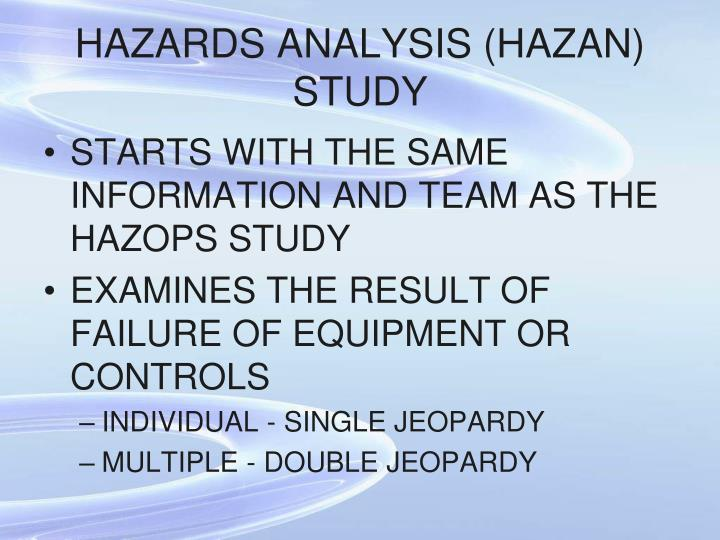 HAZARDS ANALYSIS (HAZAN) STUDY