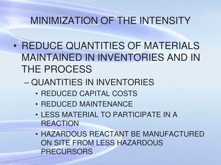 MINIMIZATION OF THE INTENSITY