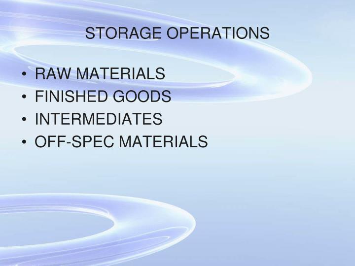STORAGE OPERATIONS
