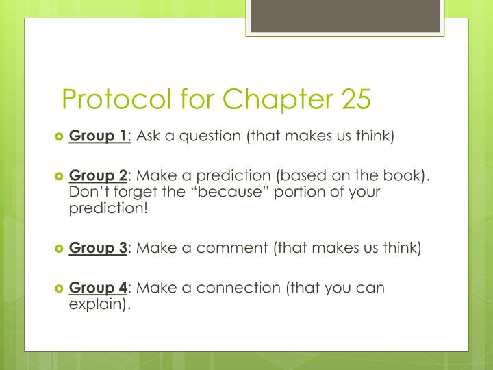 Protocol for Chapter 25