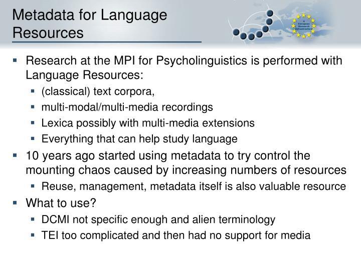 Metadata for Language Resources