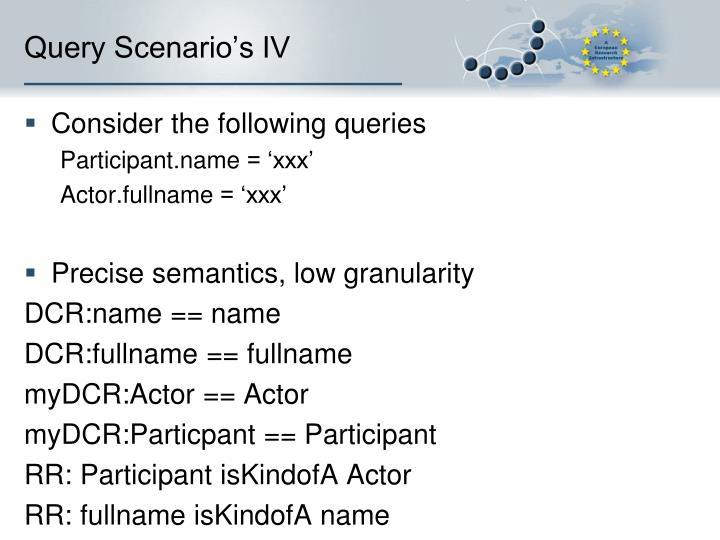 Query Scenario's IV