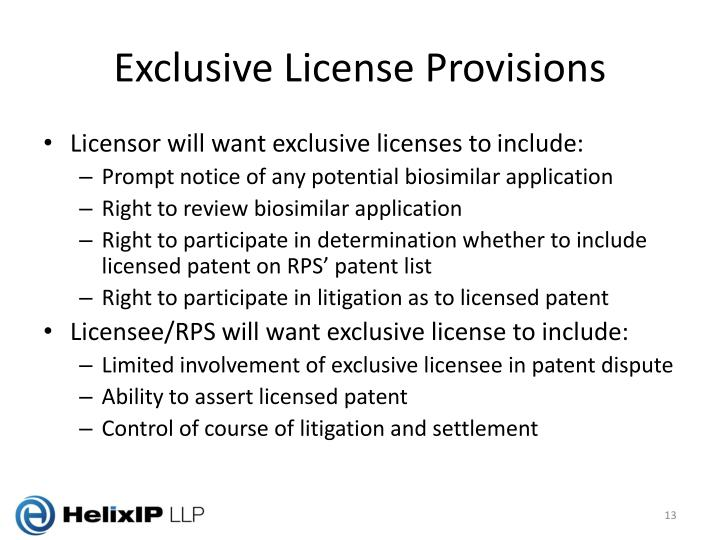 Exclusive License Provisions