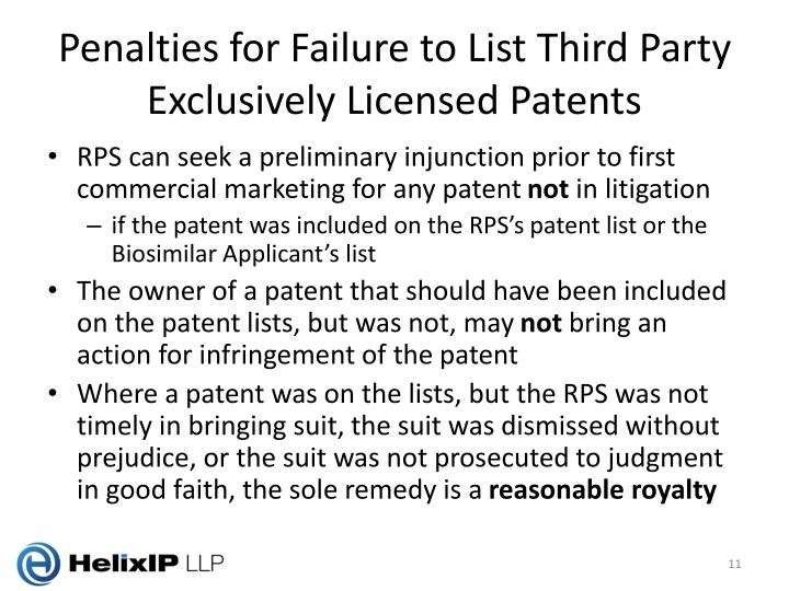 Penalties for Failure to List Third Party Exclusively Licensed Patents