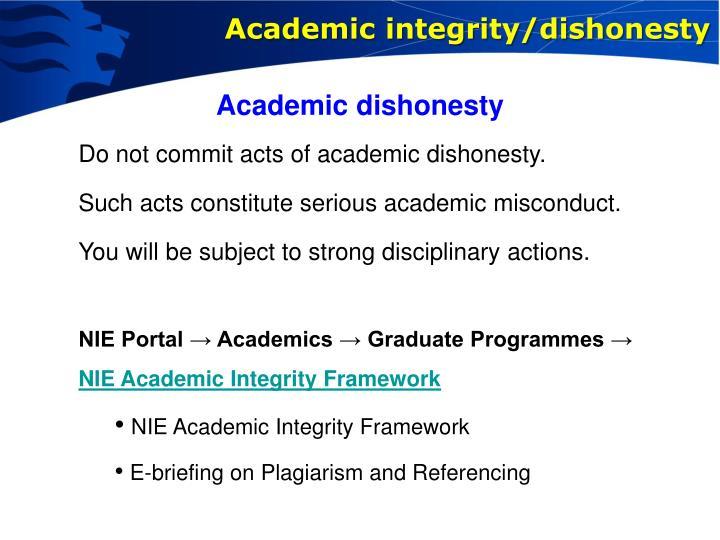 Academic integrity/dishonesty