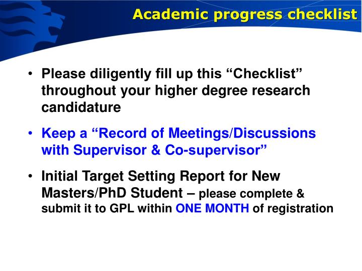 Academic progress checklist