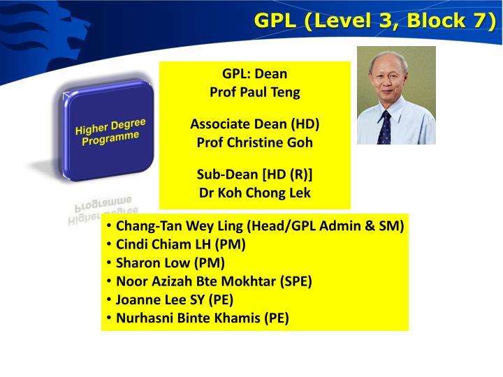 GPL (Level 3, Block 7)
