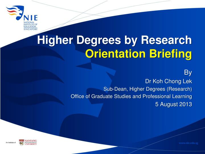 Higher Degrees by Research
