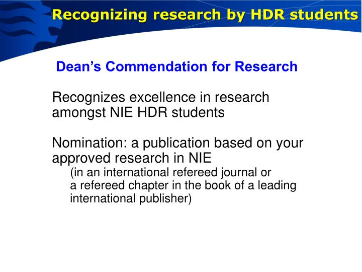 Recognizing research by HDR students