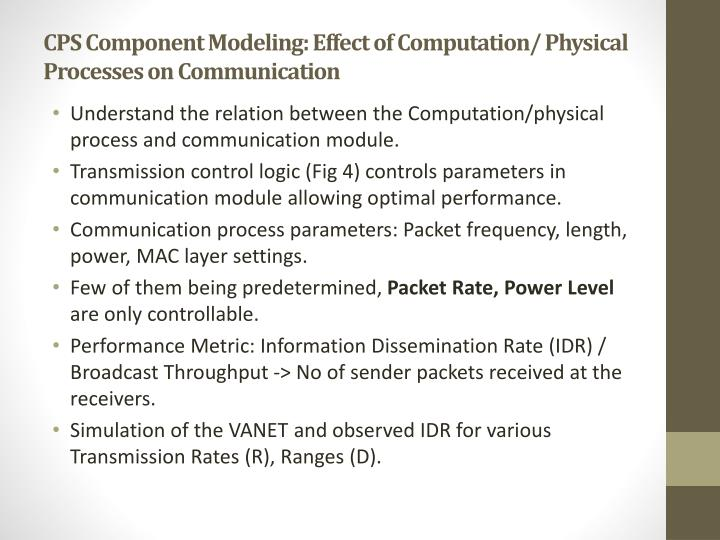 CPS Component Modeling: Effect