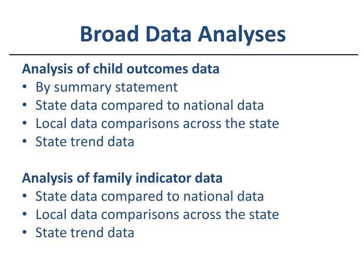 Broad Data Analyses