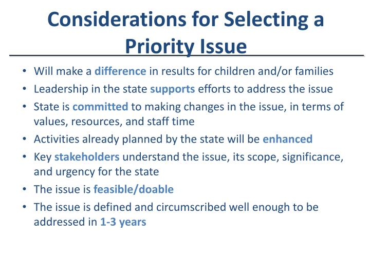Considerations for Selecting a Priority