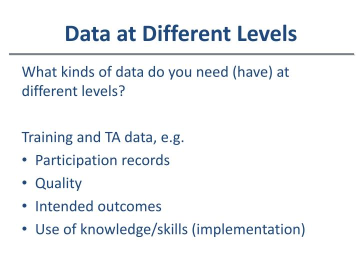 Data at Different Levels
