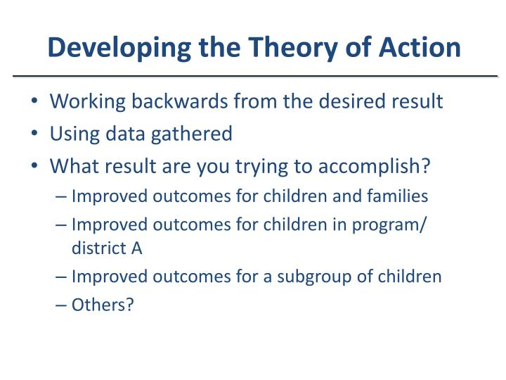 Developing the Theory of Action
