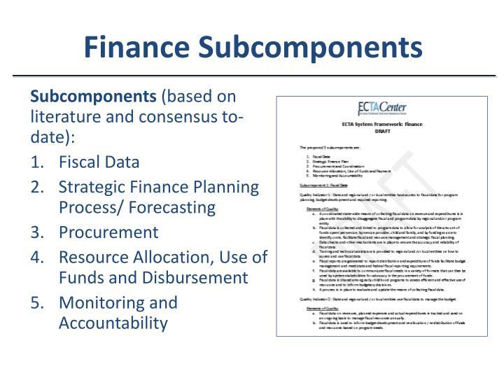 Finance Subcomponents