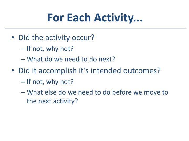For Each Activity...